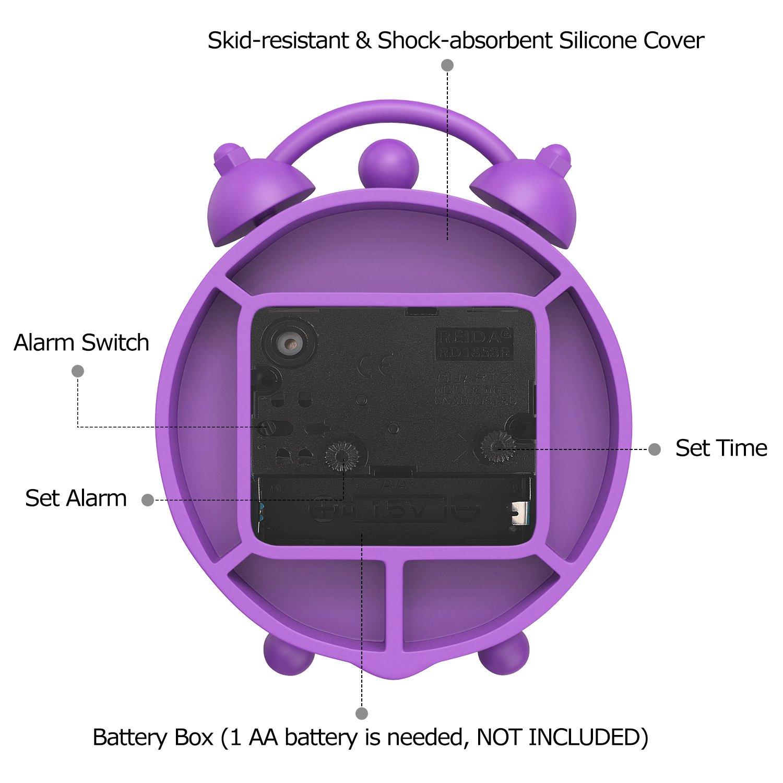 Viaggio Sveglia Comodino con 2 Campane in Silicone Numeri Grandi Impostazione Ora Sveglia per Comodino Casa 1 Batterie AA MoKo Sveglia Sveglia Digitale Comodino Viaggio Blu Suoneria Allarme