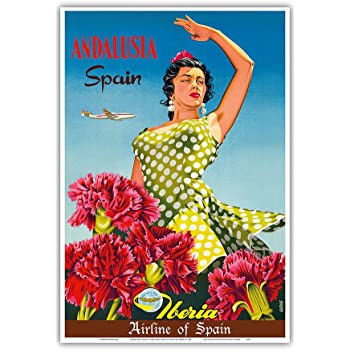 Pacifica Island Art Andalusia, Spain - Iberia Air Lines of Spain - Flamenco Dancer - Vintage Airline Travel Poster by Goros c.1958 - Master Art Print - 13in ...