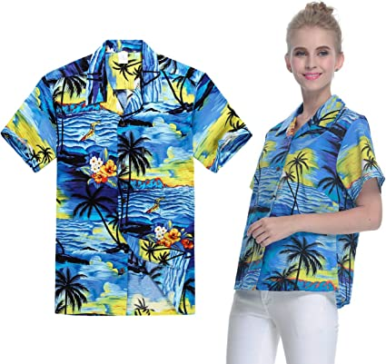 Pareja Que Hace Juego al Hawaiian Luau Outfit Aloha Camisetas en Puesta de Sol roja