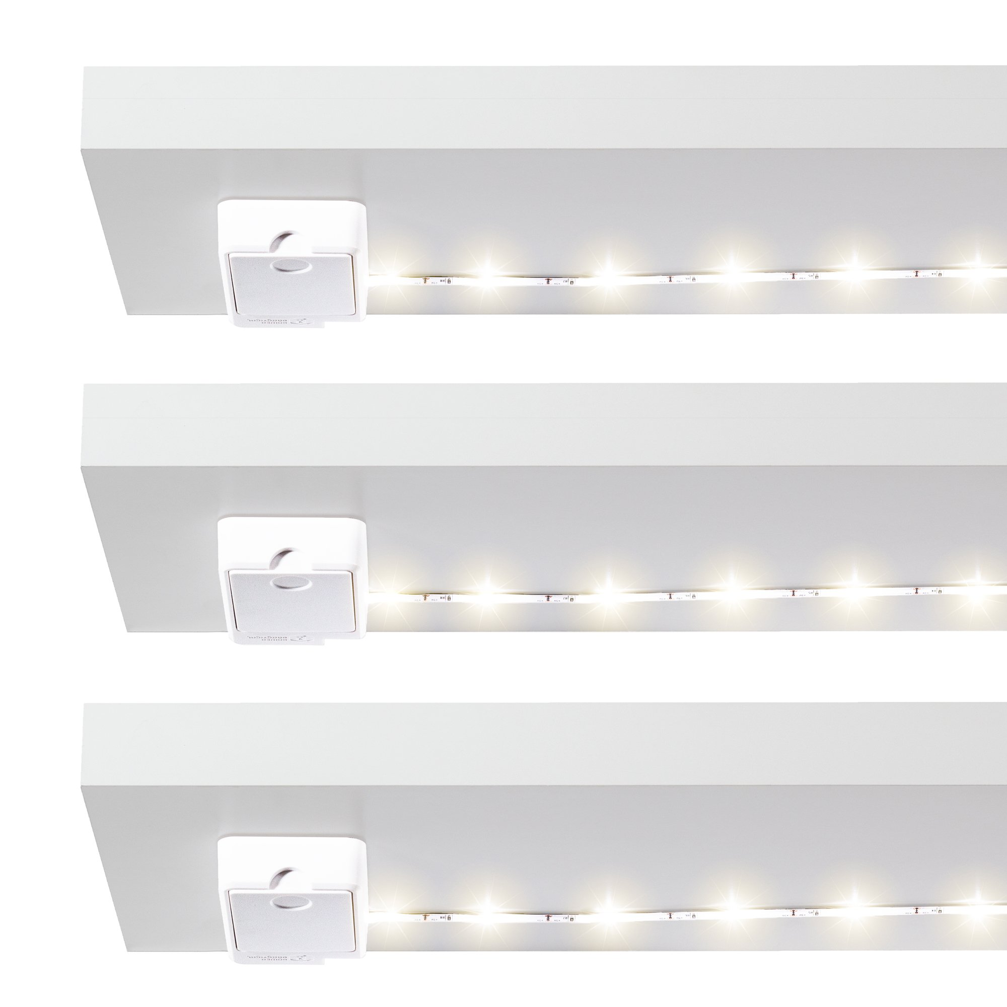 Luminoodle Click Battery Powered Tap Light Strip for Closet, Pantry 3-Pack | 36 in. LED Shelf Lighting, Wireless Stick Anywhere Adhesive String Push Lights - Warm White (2700K)