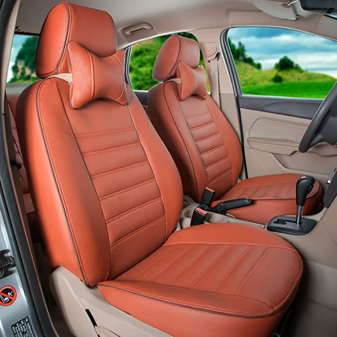 ALLYARD Car Seat Covers For RDX CDX TLX-L ZDX ILX TLX 5-seats Front/&Rear Seat Protectors Cover PU Leather Automotive Cushions Seat Cover Interior Accessories Beige and Yellow