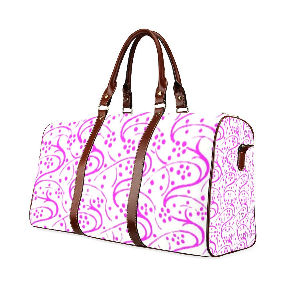 Vintage Swirls Floral Pink Custom Waterproof Travel Tote Bag Duffel Bag Crossbody Luggage handbag