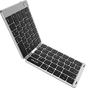 Folding Keyboard, Jelly Comb Ultra Slim Foldable BT Keyboard B047 Rechargeable Pocket Sized Keyboard for All iOS Android Windows Laptop Tablet Smartphone and More (Black and Silver)