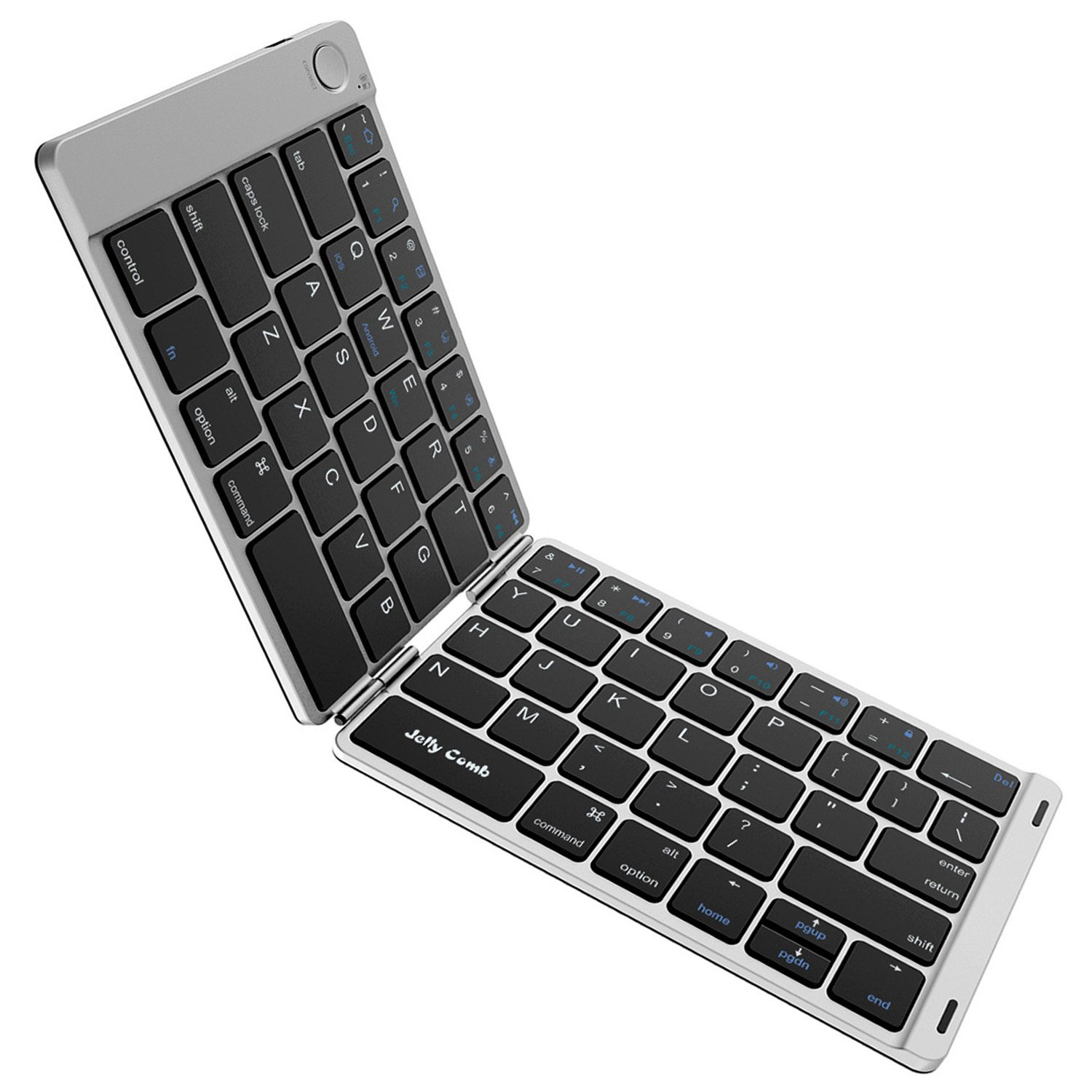 Foldable Bluetooth Keyboard, Jelly Comb B047 Ultra Slim Folding Mini Bluetooth Keyboard Rechargeable PU Leather Pocket Size Keyboard for iPad Android Smartphone Windows-(Black and Silver)