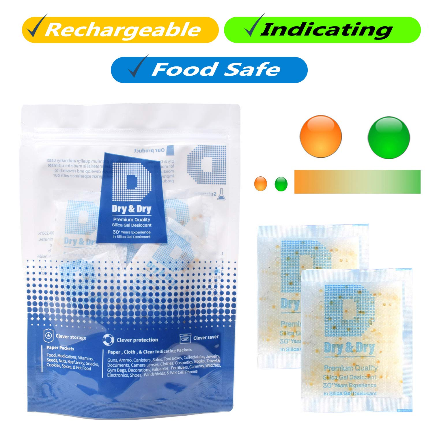 DRY&DRY 10 Gram [60 Packs] Food Safe Orange Indicating(Orange to Dark Green) Mixed Silica Gel Packets - Rechargeable(FDA Compliant)