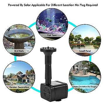 Ankway Bomba de Agua Solar, 1.2W Bird accionada la Bomba de la Fuente del baño Solar Lindo, Panel Derecho Libre Jardín Solar Kit de Bomba de Agua, ...