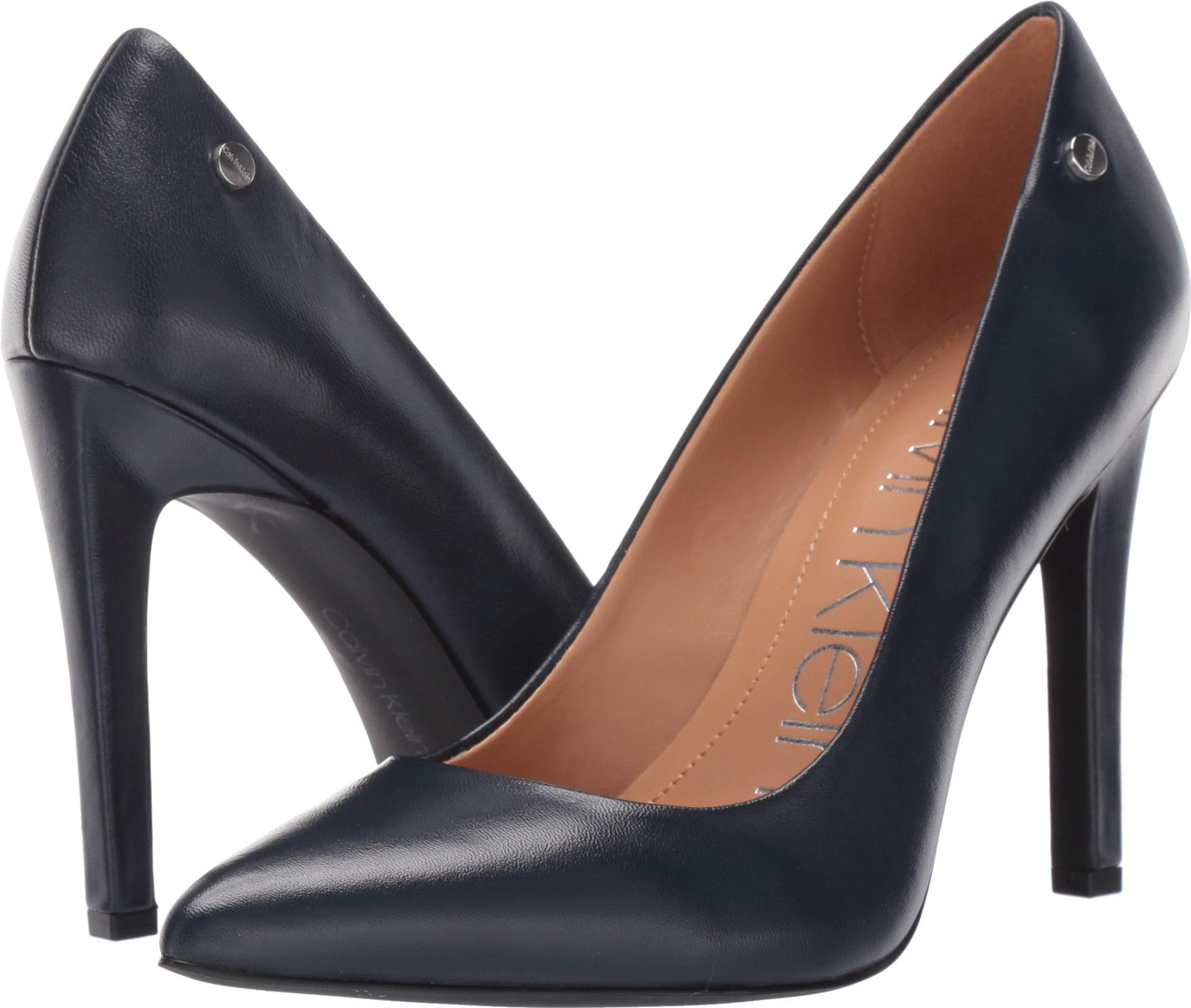 Calvin Klein Women's Brady Pump Navy Leather 8 M US