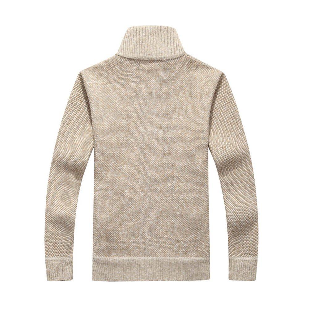 tueselesoleil Winter Men's Cardigan Sweater Solid Color Thick Plus Size Coat (Beige) by tueselesoleil (Image #2)