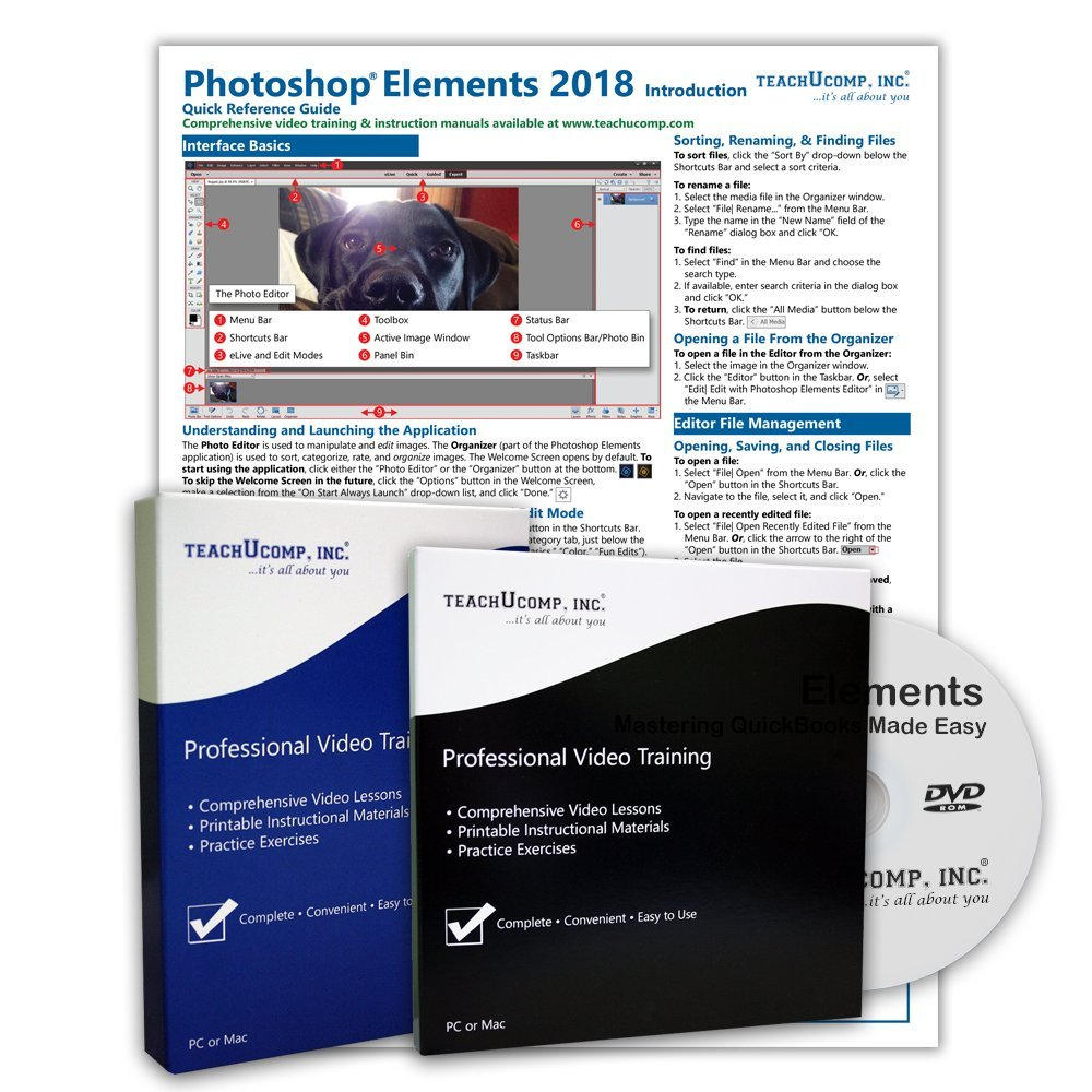 Learn Photoshop Elements 2018 DELUXE CPE Training Tutorial Package Video Lessons, PDF Instruction Manuals, Printed and Laminated Quick Reference Guide, Testing Materials, and Certificate of Completion by TeachUcomp Inc.