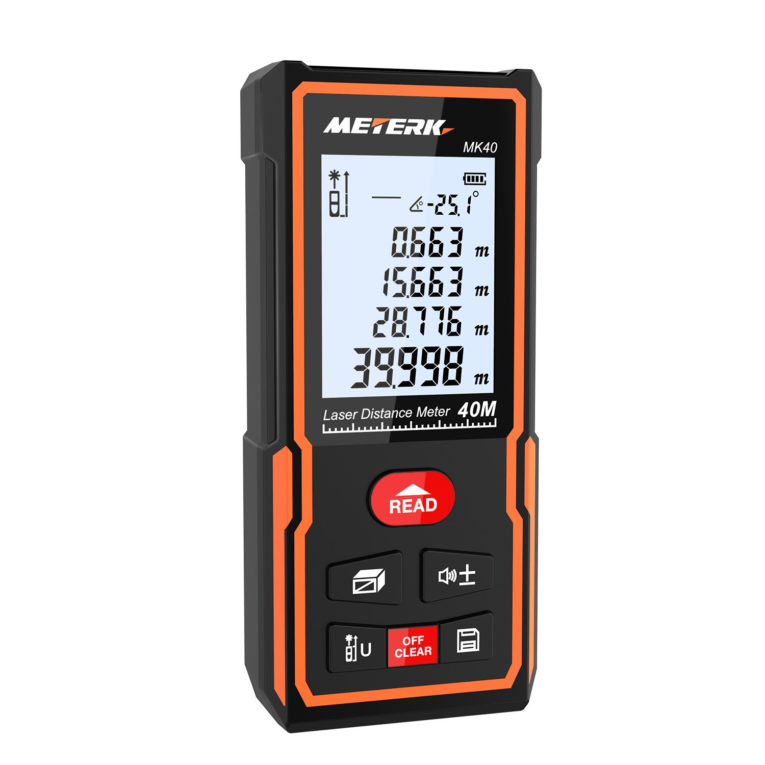 Laser Distance Meter, Meterk M/In/Ft Laser Measure Area Volume Measure with LCD Display Backlight, Electronic Angle (40m), High-precision Rangefinder, Data Storage Memory Function