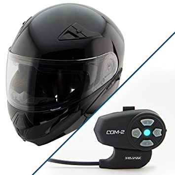 Hawk xfz-9120 brillante negro Modular casco con Hawk COM-2 Bluetooth Intercom