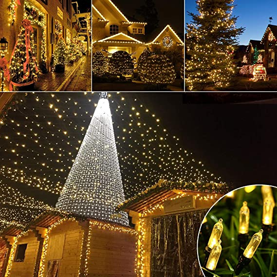 Amazon.com : Battery LED Christmas Lights, 39ft 100 LED String Lights Waterproof with 8 Modes & Automatic Timer for Home, Patio, Lawn, Garden, ...