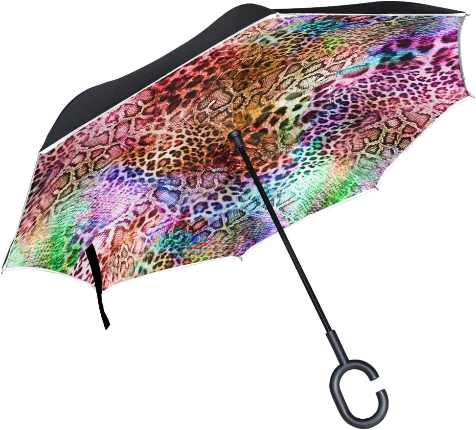 SLEPOPO Inverted Umbrella,Windproof UV Protection Big Straight Umbrella with C-Shaped Handle and Carrying Bag Texture of Print Striped Leopard Double Layer Reverse