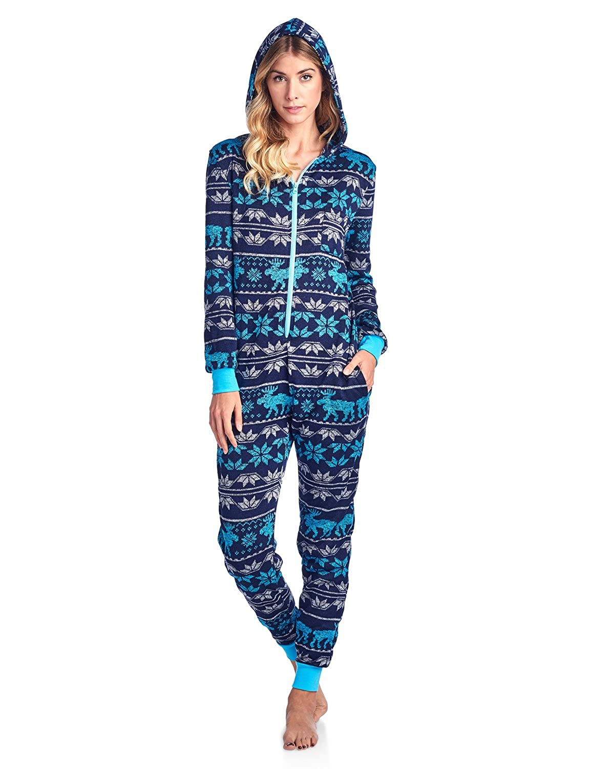Ashford & Brooks Women's Sweater Fleece Zip Up Hooded Onesie Pajama ABW78745SFO