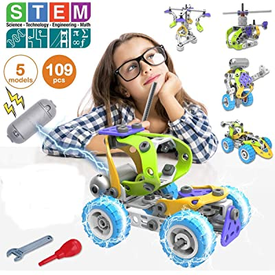 Jigamix Building Toys for Kids Stem Toys for Boys and Girls Educational Kit Real Engine Little Building Engineer Helicopter Racing Car Robot RV Crane 109 Pcs: Toys & Games