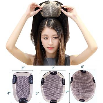 Amazon.com  PANCY Toupee for Women Handmade Human Hair Topper Clip ... 7c37a2cc1
