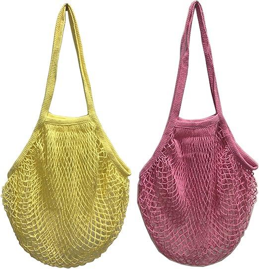 2 bolsas de malla de algodón lavable, para compra o como bolso de ...