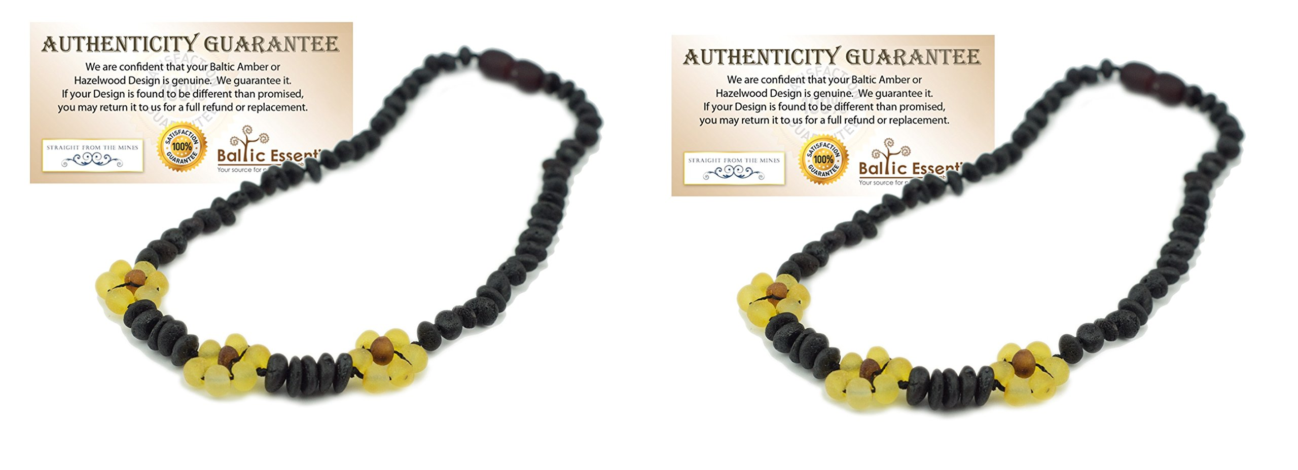 TWO Pack - Baltic Amber 12.5 Inch Teething Necklace for Babies (Black Cherry) Raw Unpolished - Baby, Infant, and Toddler. Drooling & Teething Pain (2 Pack) by Baltic Essentials