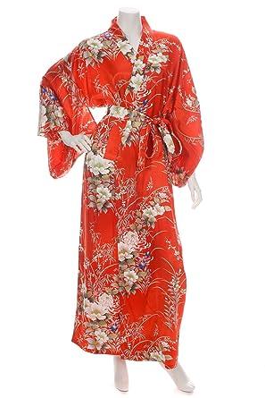 399672ec9fa Japanese Silk Kimono Floral Print Long Red XL at Amazon Women s ...