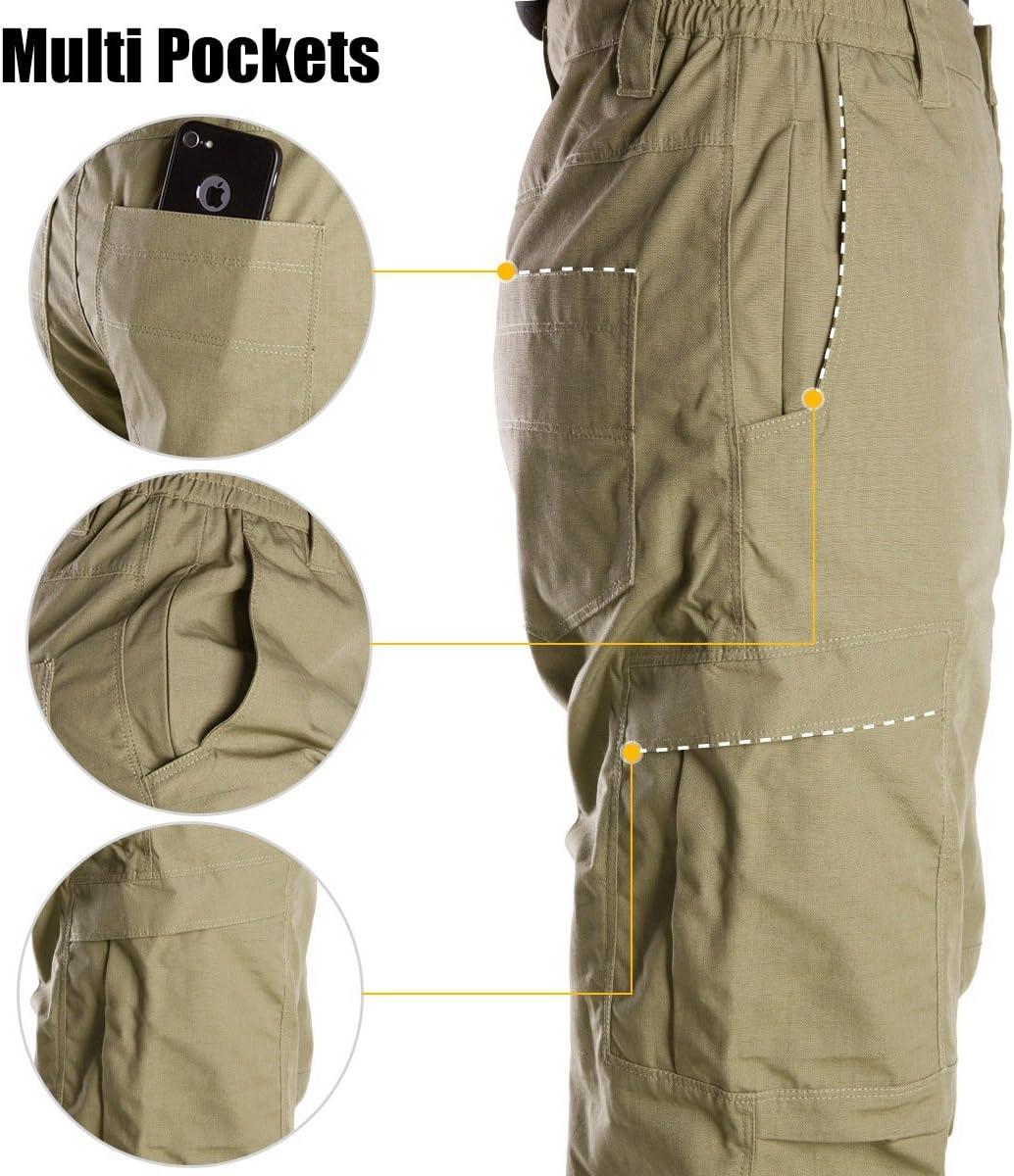 FREE SOLDIER Pantalon de Plein air /à Poches Multiples pour Hommes Pantalon de Travail en Cargo en t/éflon Pantalon Tactique imperm/éable Randonn/ée Pantalon descalade