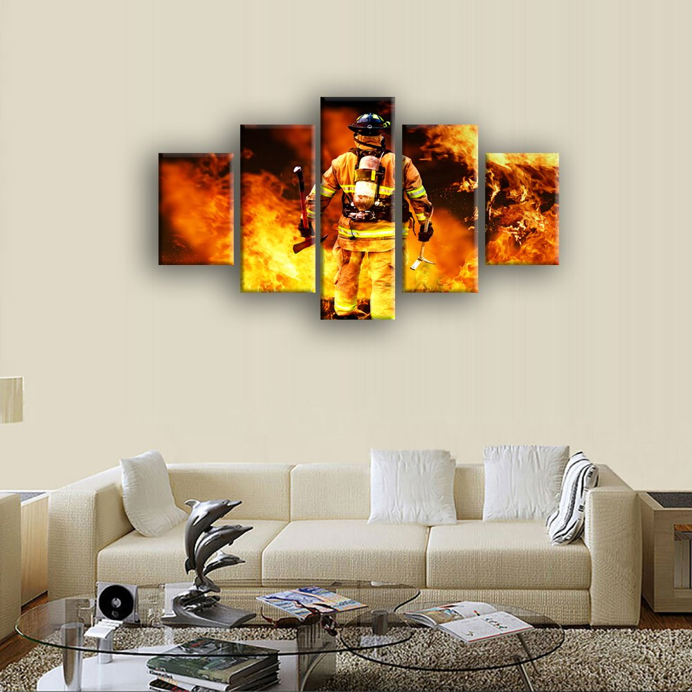 Amazon.com: VIIVEI Firefighters Wall Art Canvas Prints Art Home ...