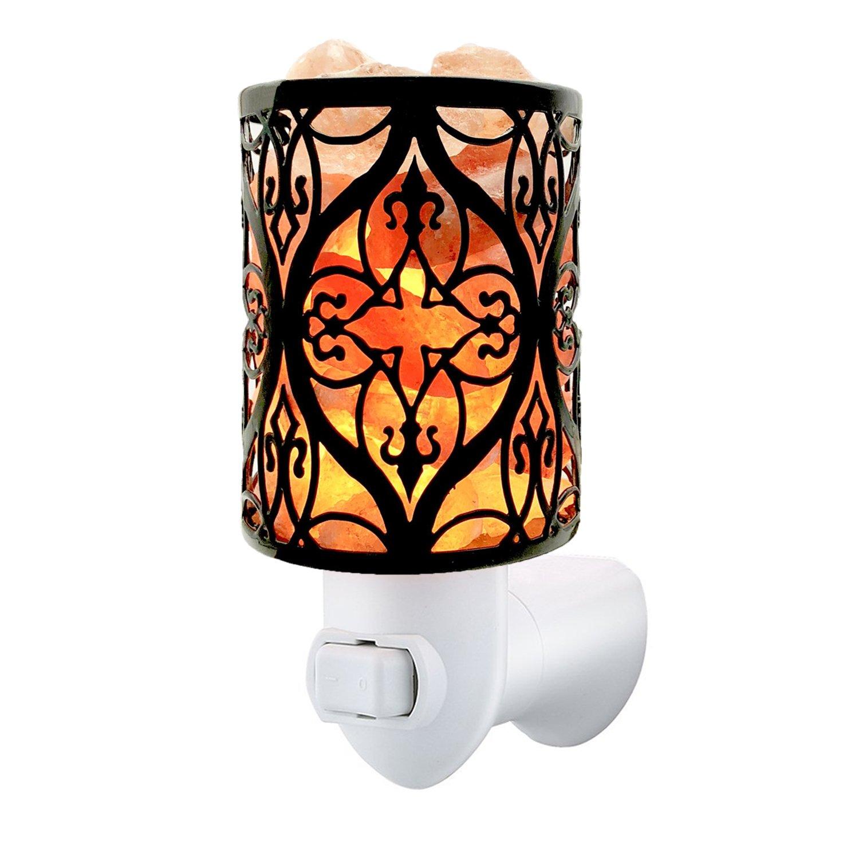 MaymiiHome Himalayan Sea Salt Crystal Wall Glow Lamp Mini Night Light Lights in Unique Design Lantern Basket, Toten Fire Bowl Lantern, UL Approved Plug 2 Bulbs,Pulg in Wall Night Light