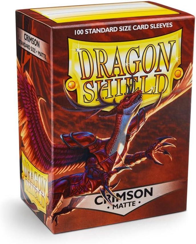 2X Matte Crimson 100 Count Standard Size Deck Protector Sleeves Dragon Shield Bundle