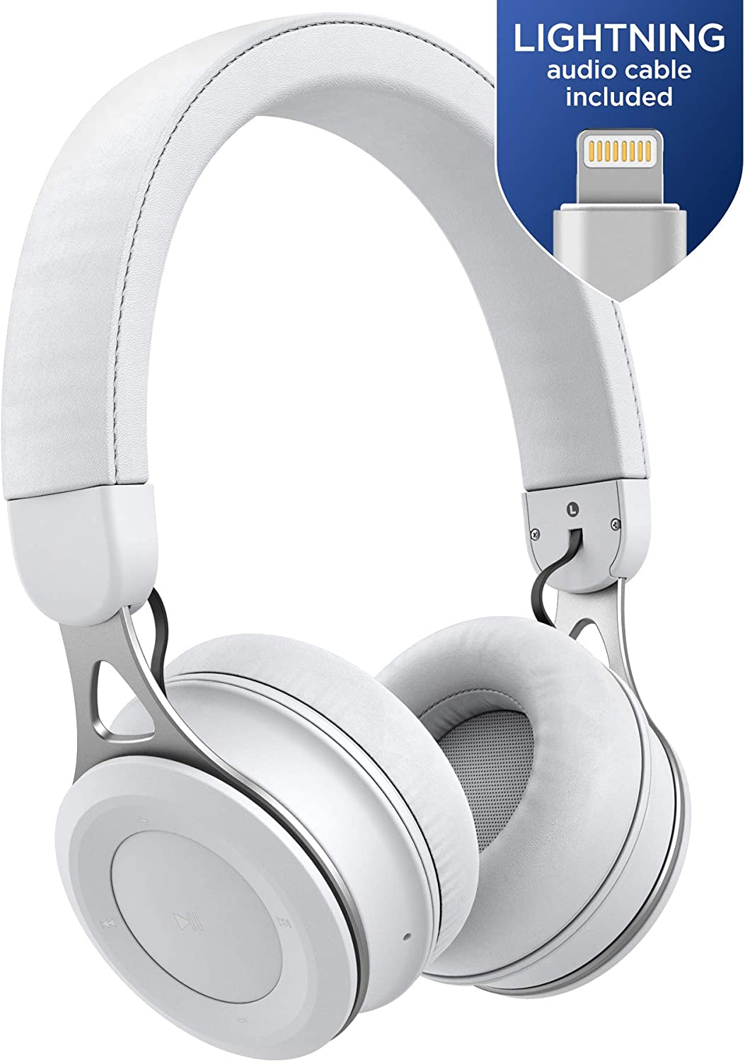 Thore Bluetooth iPhone Headphones with Lightning Connector - Lightweight Adjustable On Ear Wireless Earphones (MFI Certified) for Apple iPhone X, XR, XS Max, 11 Pro (C150 White)