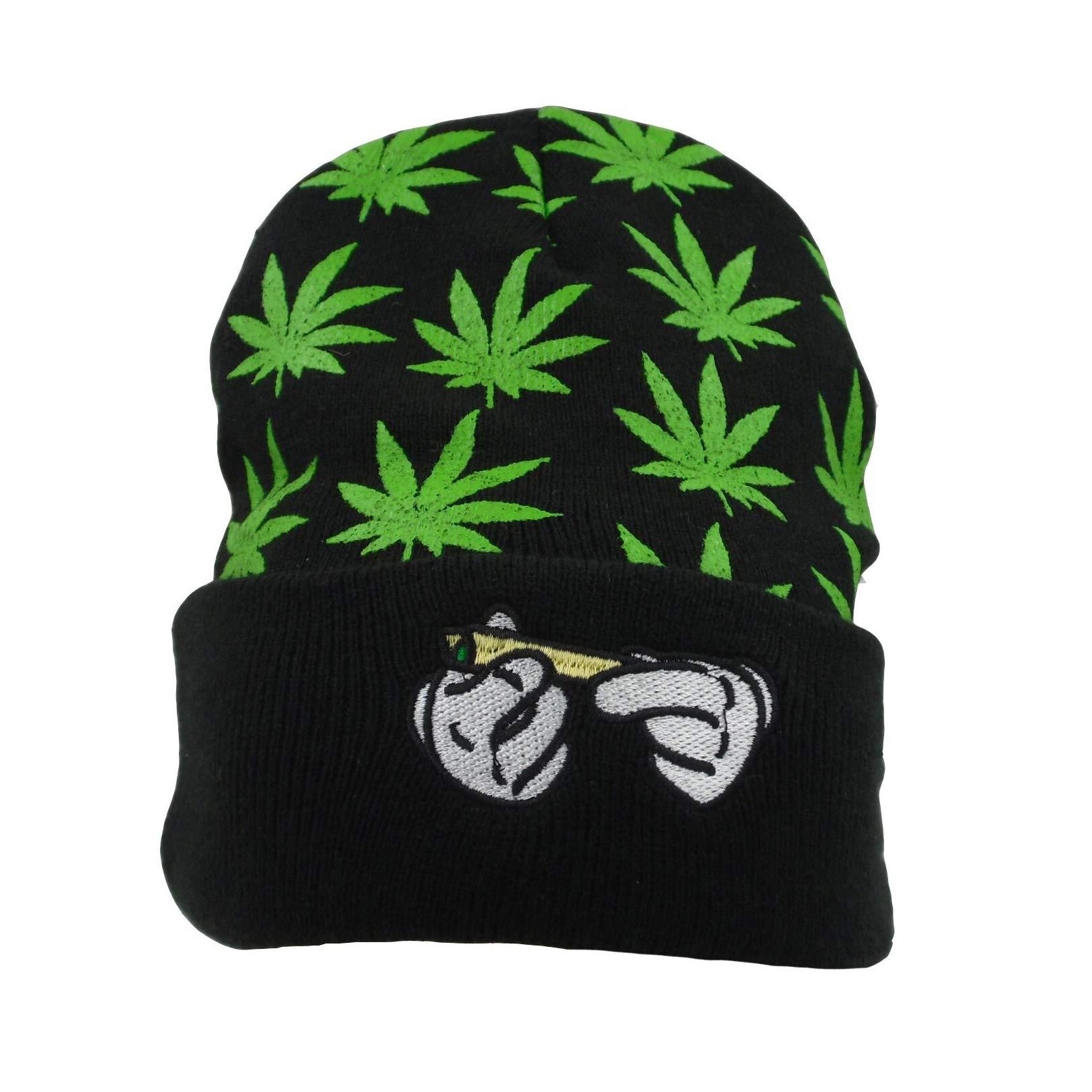 Weed Marijuana Acrylic Beanie Hat ,Leaf Pot Cuffed Knit Winter Weed Beanie Hat Mens Women