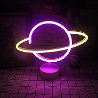 Neon neonverlichting met gele en roze neonbasen Neon Planet kinderverlichting nachtbord USB/batterij-aangedreven…