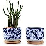 T4U Stile Giapponese Seriale NO.3 Ceramica Vaso di Fiori Pianta Succulente Cactus Vaso di Fiori Contenitore Impianto Vasi Vivaio Bianca, Confezione da 2