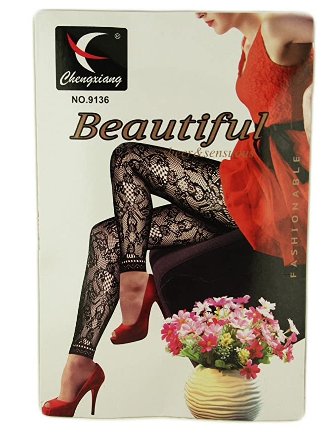 60b368ba708c6 Ladies Footless Tights Hosiery Pantyhose Patterned Net Fishnet Mesh  Stockings Lace Floral (9003): Amazon.co.uk: Clothing