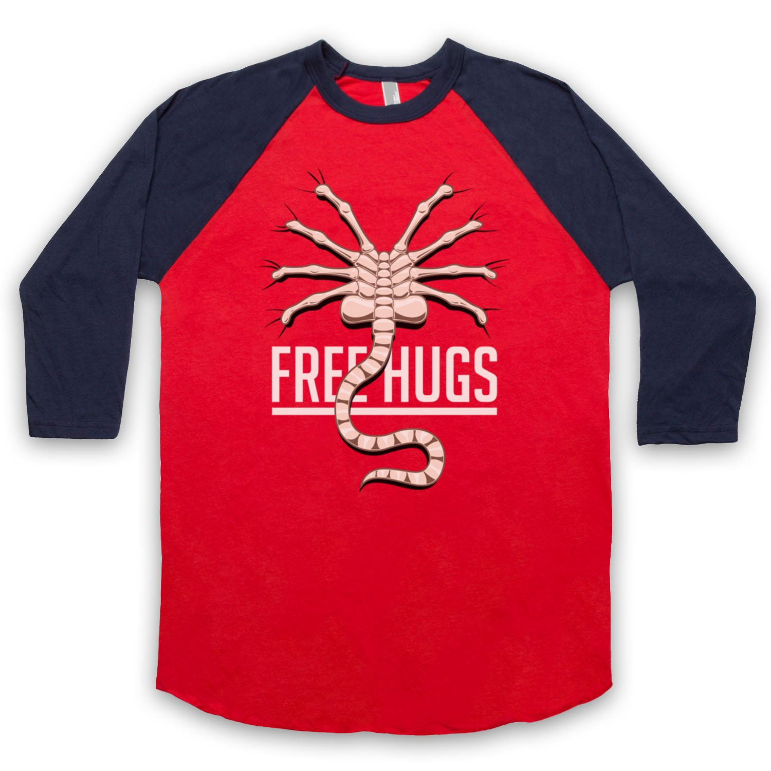 Inspired by Aliens Free Hugs Unofficial 3/4 Sleeve Retro Baseball Tee