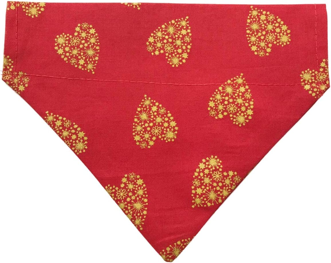 Large//X Large Dog Bandana Red /& Gold Love Hearts Print Phoebe /& Bella Slide on Collar Dog Bandana