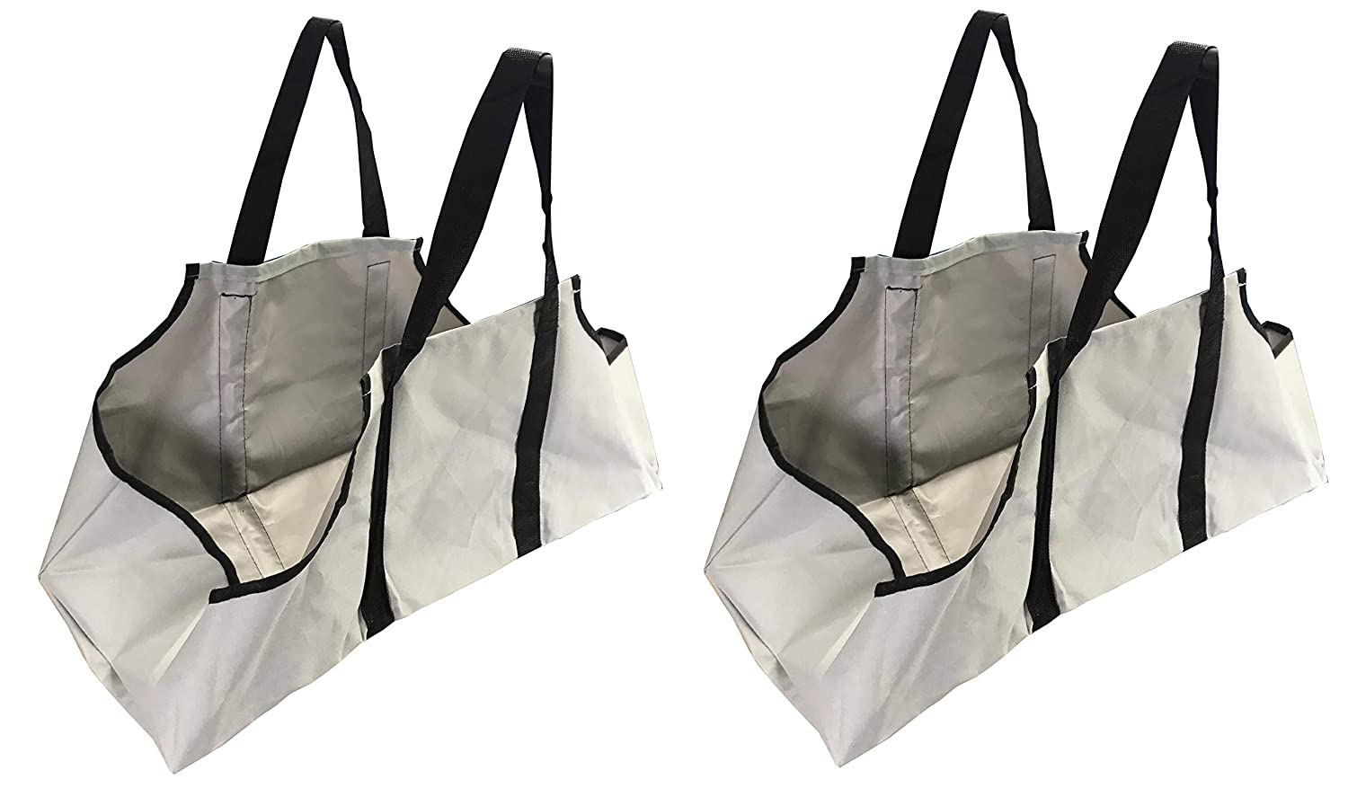 Set of 2 Canvas Log Carrier French Grey Bag Tote Wood Waterproof Double Handled