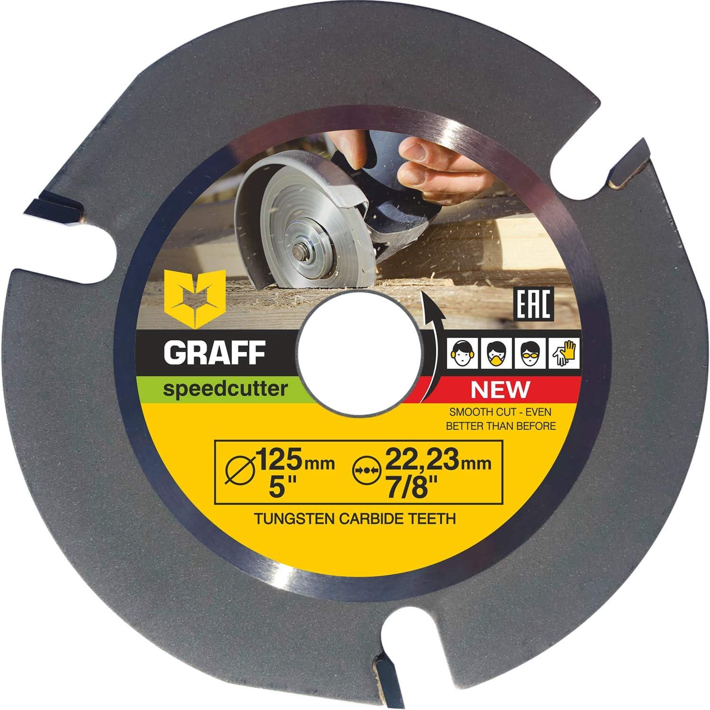 Hardmetal GRAFF® Speedcutter Disco de Corte Amoladora Madera 115mm / 125mm, TCT Hoja de Sierra Circular para Madera 3 Dientes (125 mm)