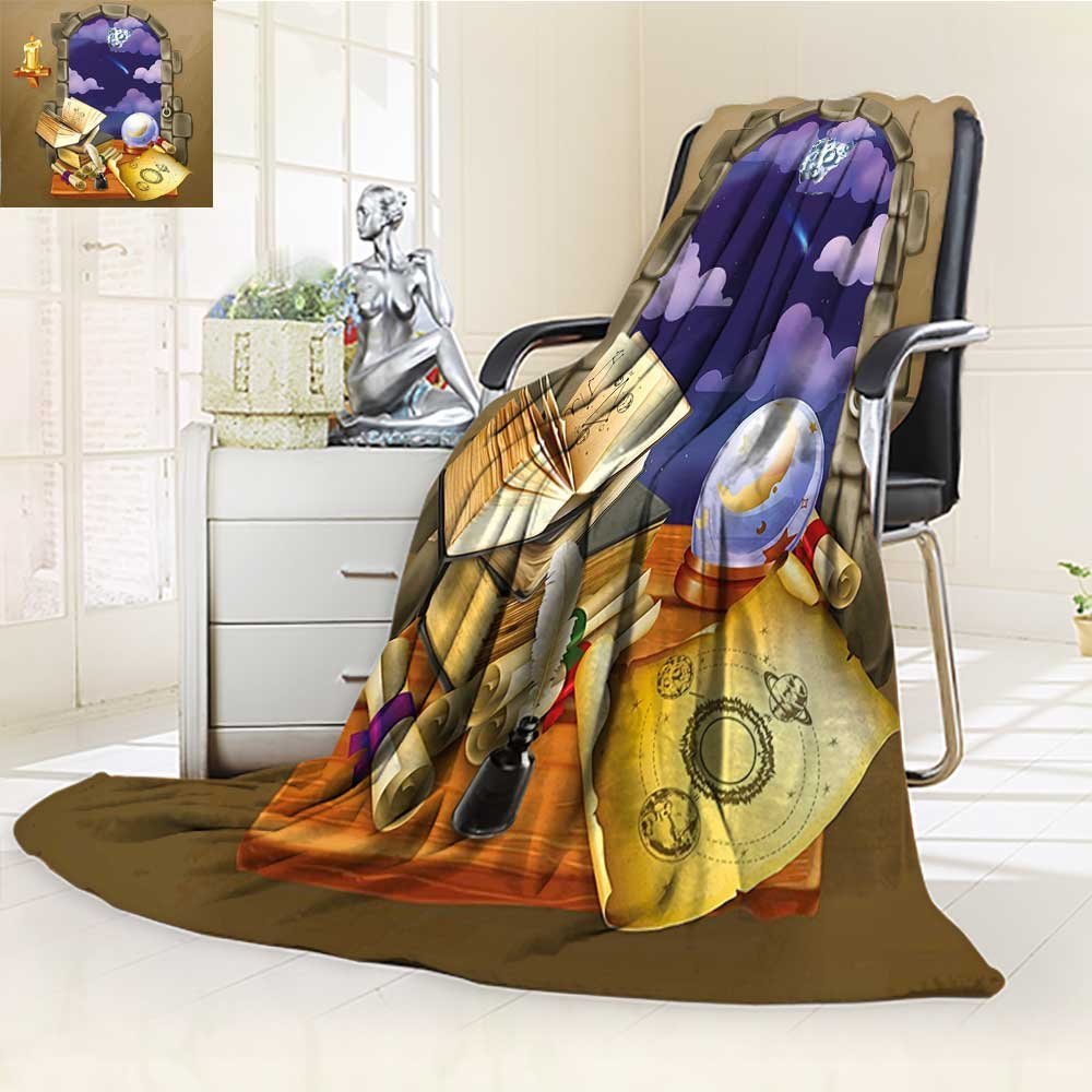 YOYI-HOME Heavy Duplex Printed Blanket Castle Window with Crystal Ball Clouds Parchment Teal Grey White and Purple Anti-Static,2 Ply Thick,Hypoallergenic/W47 x H69