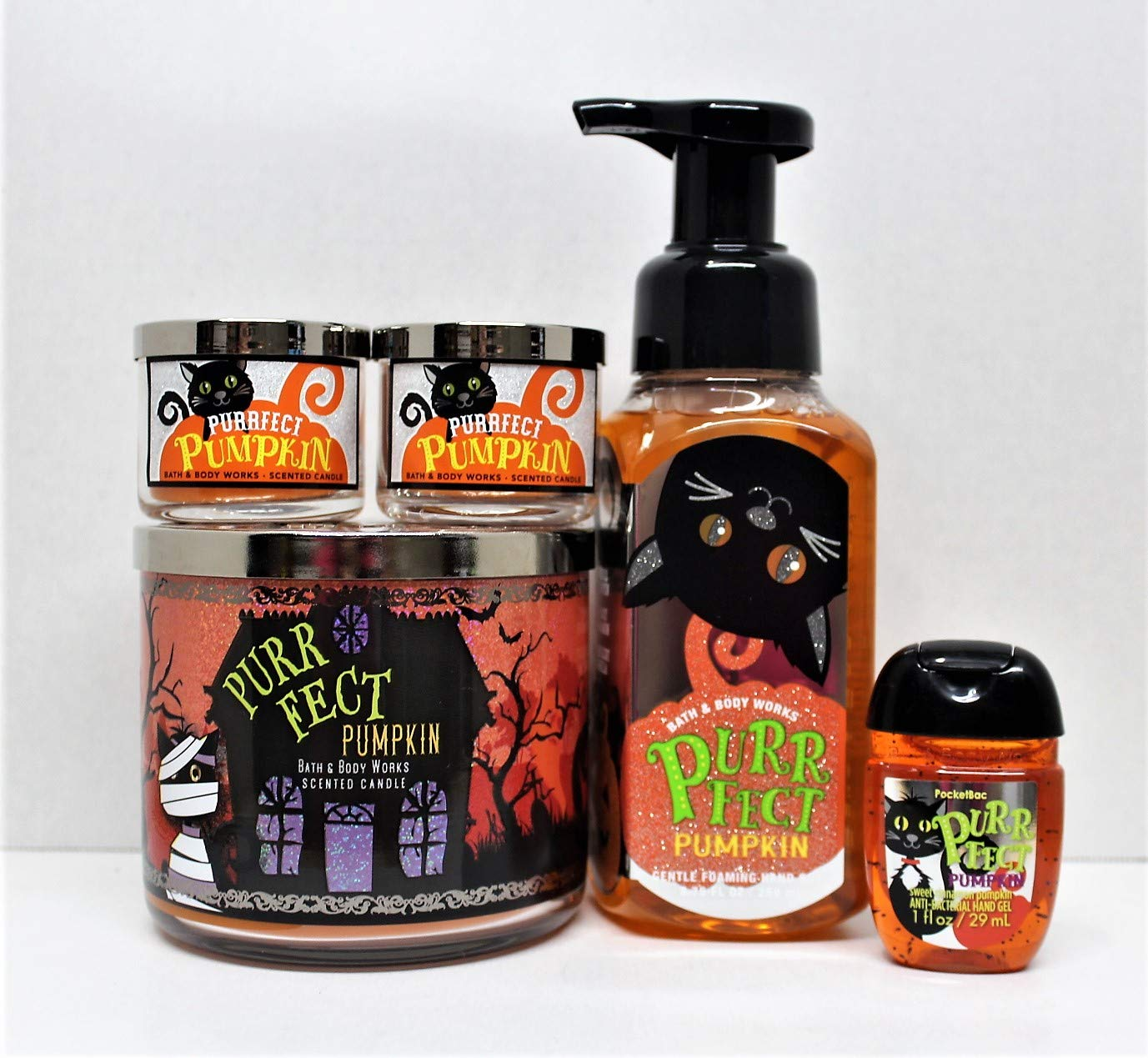 Bath and Body Works Purrfect Pumpkin 5 pc Bundle Sweet Cinnamon Pumpkin 3-Wick scented candle (2) Mini Candle, Foaming hand soap and PocketBac liberty point productions