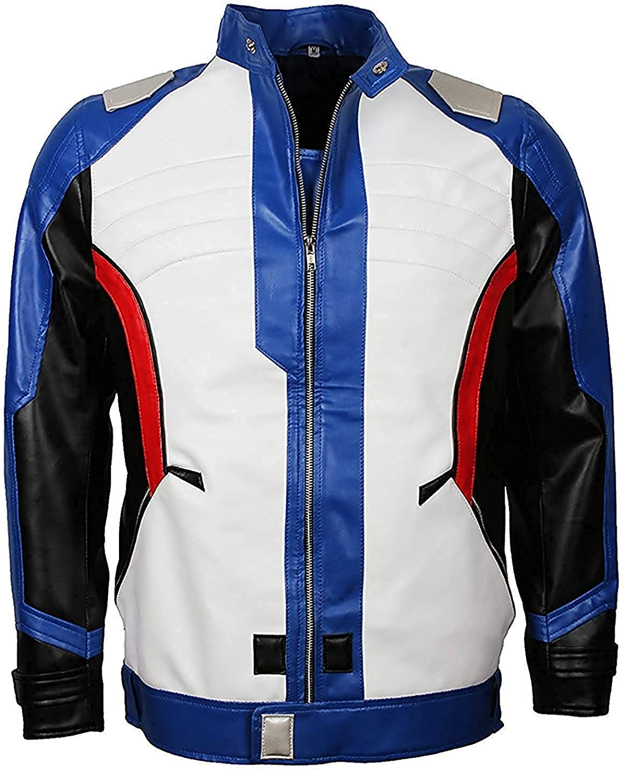 Mens Overwatch Soldier 76 John Jack Morrison Genuine Blue Leather Jacket