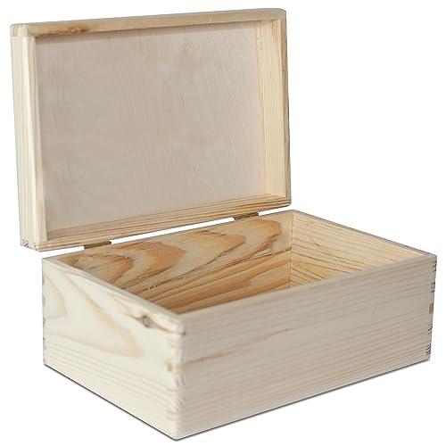Large Wooden Box Storage Keepsake Wood Plain Unpainted | 30 X 20 X 14 Cm |