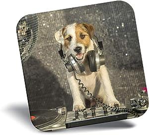 Destination Vinyl ltd Awesome Fridge Magnet - Awesome DJ Dog Jack Russell 15645