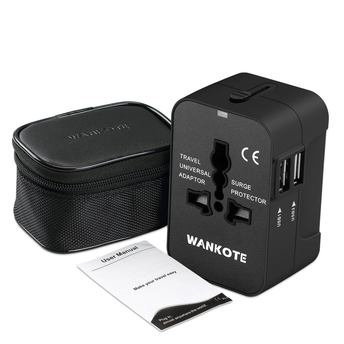 WANKOTE Travel Adapter, International Universal All in One Converter Plug with 2 USB Ports for USA EU UK AUS Cell Phone Laptop