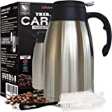 (ONE DAY SALE) Thermal Coffee Carafe Stainless Steel Jug - Heavy Duty 24hr Lab Tested Heat Retention 2 Liter 68oz Insulated Coffee Thermos Water & Beverage Dispenser Premium Grade Thermal Pot by Pykal