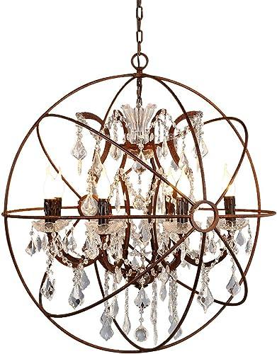 JinYuZe Industrial Globe Cage Ceiling Lamp 6 Lights Orb Chandelier,Retro Loft Clear Crystal Hanging Ceiling Pendant Lamp,Sphere Rust Metal Globe Light Fixture