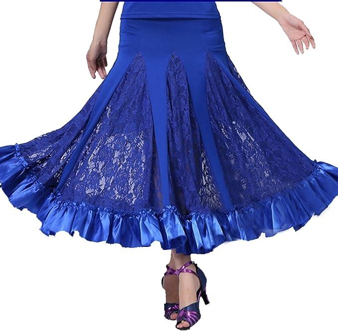 Cheerlife Damen Tanzrock Maxirock Standard Ballsaal Tanzen Lange Swing Kleid Modern Walzer Tango Spitze Röcke
