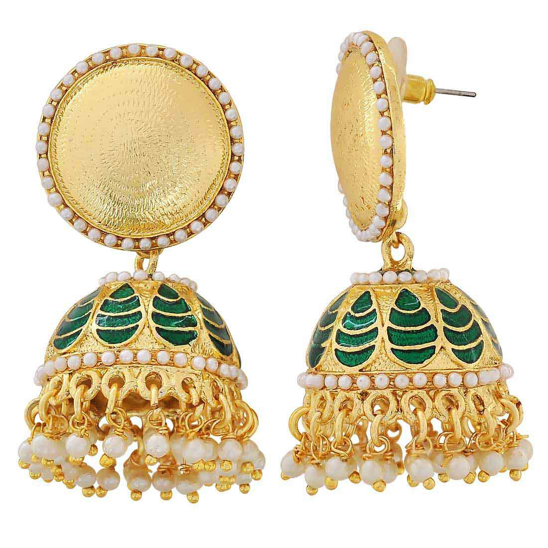 Maayra Meenakari Classic Earrings Green White Jhumki Wedding Festival Jewellery