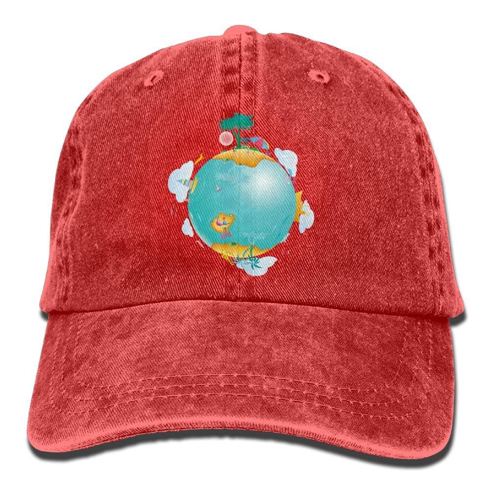 Denim Baseball Cap Earth View Summer Hat Adjustable Cotton Sport Caps
