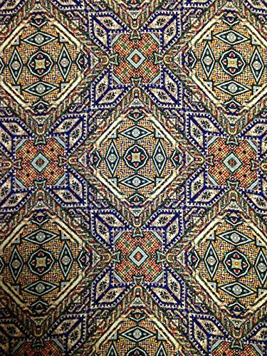 Moroccan Mosaic Diamond Pattern on Non-Stretch Lightweight Polyester Peach Skin Fabric By the Yard
