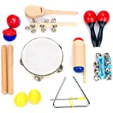 Musical Instrument Set 16 PCS   Rhythm & Music Education Toys for Kids   Clave Sticks, Shakers, Tambourine, Wrist Bells & Maracas for Kids   Natural Toys with Carrying Case by Boxiki Kids
