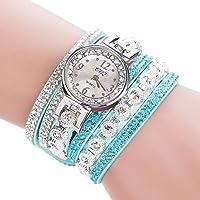 jiumoji CCQ Women Elegant Vintage Shining Crystal Bracelet Dial Analog Quartz Wrist...